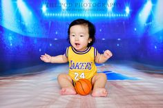 LA Lakers Basketball Baby Photo Session Cake Smash Pictures, Basketball Baby, Baby Portraits, Family First, Newborn Session, Photography Photos, Baby Photos, Photo Sessions, Maternity
