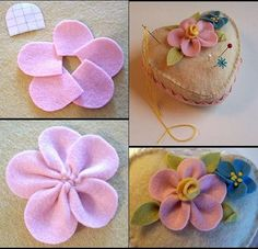 Collection of tutorials for making DIY felt flowers – Embroidery Desing Ideas Felt Flowers, Diy Flowers, Crochet Flowers, Fabric Flowers, Paper Flowers, Felted Wool Crafts, Felt Crafts, Crafts To Make, Diy Bow