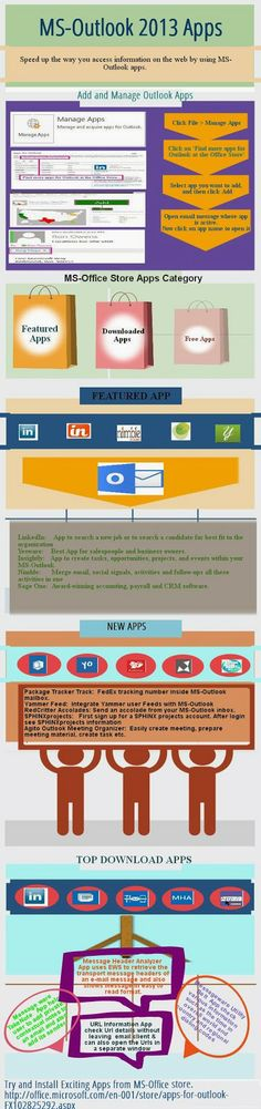 Infographics – MS Outlook 2013 Apps Office Store, Cubicle, Microsoft Office, Productivity, Infographics, Ms, Career, Technology, Education
