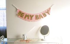 Original Be My Baby Glittering Fringe Banner | garland, party banner, photo prop, baby nursery, wall hanging, fringe banner, gold glitter