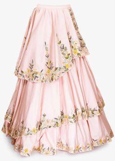 Powder Pink Layered Skirt In Crepe Paired With Floral Embroidered Crop Top Online - Kalki Fashion Lehnga Dress, Lehenga Skirt, Lengha Choli, Sharara, Saree, Kids Party Wear Dresses, Lace Party Dresses, Choli Designs, Lehenga Designs