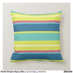 Pastel Stripes Aqua, Blue, Green, Pink, White Throw Pillow White Throws, White Throw Pillows, Aqua Blue, Pink White, Blue Green, Custom Pillows, Pastel, Stripes, Cottage