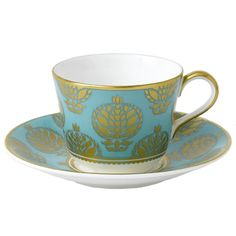 Royal Crown Derby - Bristol Belle - Turquoise - Tea Cup & Saucer - Turquoise Full Cover. Gift Boxed