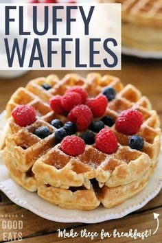 Use this Fluffy Waffle Recipe to make thick fluffy waffles without the hassle of beating egg whites! Make a double-batch and freeze for homemade waffles in minutes. - Waffle Maker - Ideas of Waffle Maker Waffle Mix Recipes, Easy Waffle Recipe, Waffle Toppings, Waffles For Two Recipe, Homemade Waffle Recipe Without Milk, Milk Free Waffle Recipe, Waffle Recipe With Egg Whites, Waffle Recipe Without Baking Powder, Chocolate Cupcakes