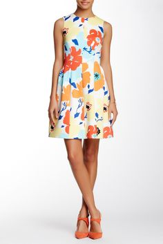 Printed Scuba Seamed Fit & Flare Dress by Anne Klein on @HauteLook