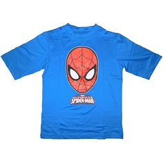 Marvel Ultimate Spider-man Boy's Rash Guard Swim Shirt - Blue