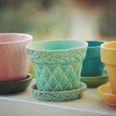 Vintage McCoy - I love McCoy Flower Pots and I found just this one recently…love the blue color and quilted pattern