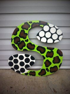 Funky Letter Door Hanger by DoOdLeDotsAnDmOre on Etsy, $25.00