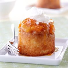Pineapple sits on top of a rum-spiked brown sugar base and is topped with a sweet coconut batter for these mini desserts.