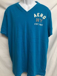 Aeropostale NY 1987 V-Neck Shirt Adult XXL Bright Teal Blue Aero Urban Casual  #Aeropostale #aeroshirt