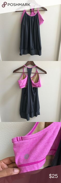 LULULEMON No Limits Tank Sz 10 🍋 LULULEMON No Limits Tank Sz 10 🍋 Pink/Charcoal Grey. EUC and always hung to dry. Pads are not included, but if you have some, you can easily insert them into the attached bra. lululemon athletica Tops Tank Tops