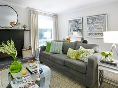 Use accent colors on cushions, vases, and decors to create lively living room.