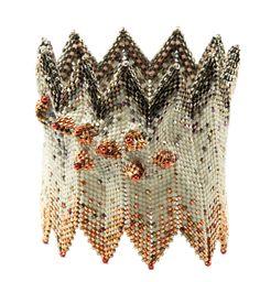 Devil's Eggs Are Hatching, Horned Rick-Rack cuff by Gabriella van Diepen, Contemporary Geometric Beadwork 2012, photo Jeroen Medema