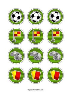 Soccer cupcake toppers. Use the circles for cupcakes, party favor tags, and more. Free printable PDF download at http://cupcakeprintables.com/toppers/soccer-cupcake-toppers/