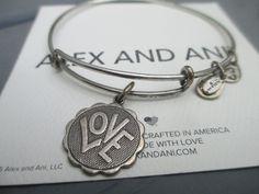 Alex and Ani CRAZY LOVE  Retired Charm in Russian Silver bracelet #AlexandAni #Bangle