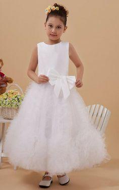 Satin Tüll Prinzessin knöchellanges Kommunionkleid/ Blumenmädchenkleid