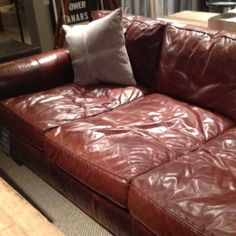Extra deep leather couch.  Heart. Restoration Hardware.