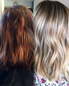 3 1/2 hour transformation by the talented Jamie Sea @prettylittleombre! She did a full head using her faded foil technique with four bowls of Wella Blondor and lots of #Olaplex. #blonde #healthy #colorcorrection #healthyhair #transformation