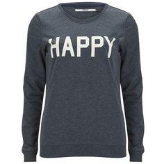 ONLY Women's Mona Slogan Box Sweatshirt - Mood Indigo ($28) ❤ liked on Polyvore featuring tops, hoodies, sweatshirts, blue, blue long sleeve top, sweat tops, blue top, sweat shirts and blue sweatshirt