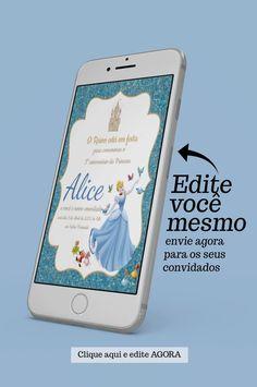 Clique na foto edite e envie agora para seus convidados por WhatsApp o convite de aniversário da Cinderela