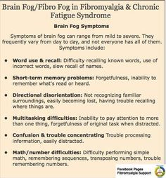 Brain-fog in Patients with Fibromyalgia, Chronic Fatigue Syndrome and Multiple Sclerosis to name but a few.