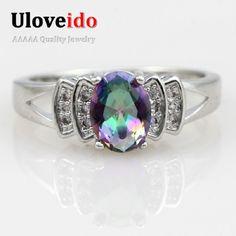 Uloveido místico anillo de joyería de moda rosa de la boda los regalos de los amantes del arco iris anillos Conjuntos de China Regalos de Año Nuevo para Las Mujeres 2016 Top Y3310