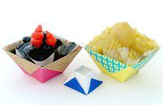 折り紙で折るおせちの器