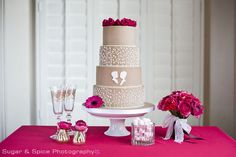 fushia and gold cakes | Wedding Cake Collection Styling | Cherry Topped Bespoke Weddings