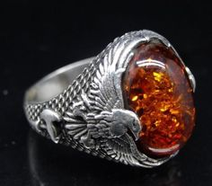 Turkish Handmade 925 Sterling Silver SPECIAL Amber Mens Ring Sz 10 Free Resize