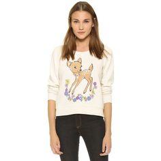 Wildfox Vintage Deer Sweatshirt ($99) ❤ liked on Polyvore featuring tops, hoodies, sweatshirts, vintage lace, vintage sweat shirts, graphic tops, long sleeve sweatshirt, long sleeve tops and vintage tops