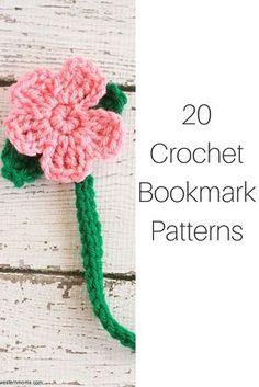20 Crochet Patterns For Bookmarks 20 Crochet Bookmark Patterns Crochet Books, Crochet Home, Knit Or Crochet, Crochet Gifts, Cute Crochet, Crochet Stitches, Easy Crochet Bookmarks, Crochet Bookmark Pattern, Crochet Baby Hat Patterns
