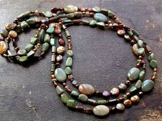 Long Chunky Threads - No2/Wildhorse Jasper, Turquoise, FWPearl   miabellacollection-jewelry - Jewelry on ArtFire