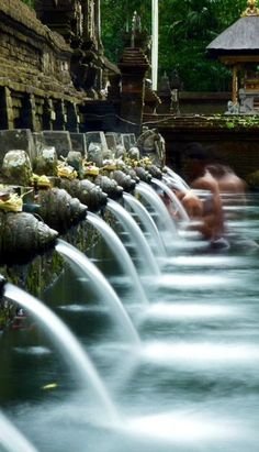 Worshipper comes to pray and ritually bathe himself in the early morning at Tirta Empul Temple in Bali.