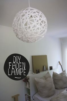 DIY instructions thread lamp (cord or bast) perfectly round Handmade Chandelier, Handmade Lamps, Diy Tumblr, How To Clean Furniture, Furniture Cleaning, Vintage Lamps, Contemporary Interior, Decoration, Creations