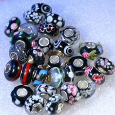 "Black Combo ""You Choose"" Single Core European Murano Lampwork Style Glass Beads | eBay"