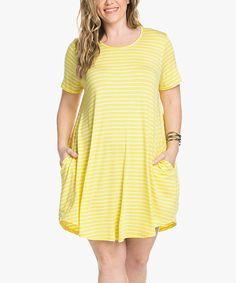 My Space Yellow Stripe Pocket Swing Dress - Plus   zulily