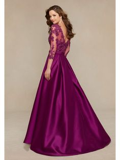 A-Line 3/4 Length Sleeve V-Neck Long Purple Satin and Lace Appliques Formal Evening Dresses 5603001