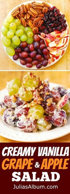 Creamy Vanilla Grape Apple Salad with Cranberries and Pecans Gluten free fruit salad with cream cheese and brown sugar dressing Thanksgiving Christmas Holiday salad side. Fruit Dishes, Food Dishes, Healthy Snacks, Healthy Eating, Healthy Recipes, Apple Recipes, Salad Recipes Gluten Free, Healthy Christmas Recipes, Fruit Salad With Cream