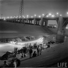 Hotrods in the Los Angeles River, 1957