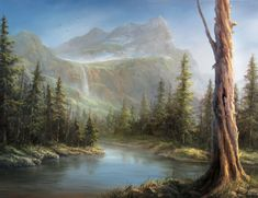 """""""Evergreen Lake"""" Oil Painting by Kevin Hill Watch short oil painting lessons on YouTube: KevinOilPainting Visit my website: www.paintwithkevin.com Find me on Facebook: Kevin Hill Follow me on Twitter: @Kevin Hill"""