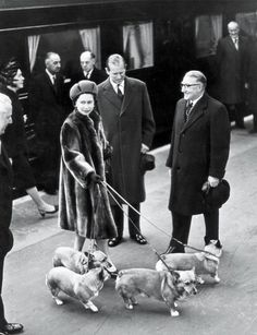 Queen Elizabeth arrives with her Corgi companions at Liverpool Street station, London, 1968.