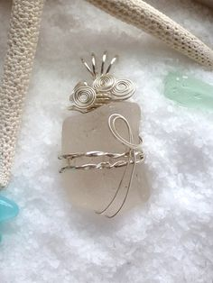 Wire Wrapped Sea Glass. Chunky White with Sterling Silver...