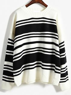 Striped Loose White Sweater 17.33