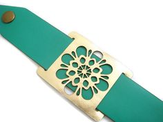 Leather cuff bracelet in green and gold  laser cut by EmilydeMolly, $35.00