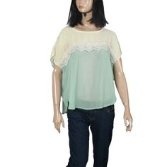 Allegra K Lady Batwing Sleeve Semi Sheer Dipped Hem Casual Loose Top Shirt Green Beige S Allegra K. $9.27