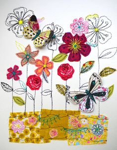 The Meadow mixed media stitched original art by AmandaWoodDesigns