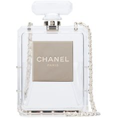 Chanel Vintage perfume bottle crossbody bag (62.515 RON) ❤ liked on Polyvore featuring bags, handbags, shoulder bags, white, crossbody chain purse, chanel shoulder bag, chain crossbody, white shoulder bag and white purse