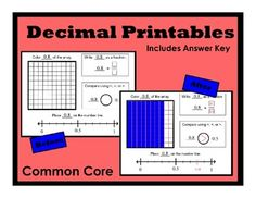 Could creat a variation of this. ***BEST SELLER*** This package includes 41 printable pages in which students create a visual representation of a given decimal. Students will write. Teaching Decimals, Math Fractions, Teaching Math, Maths, Math Classroom, Classroom Ideas, English Classroom, Homework Center, Place Value With Decimals