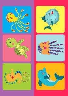"""Детское лото с картинками """"Морские обитатели"""" для детей 1,2,3,4 года скачать бесплатно, распечатать, настольные игры для детей своими руками"""