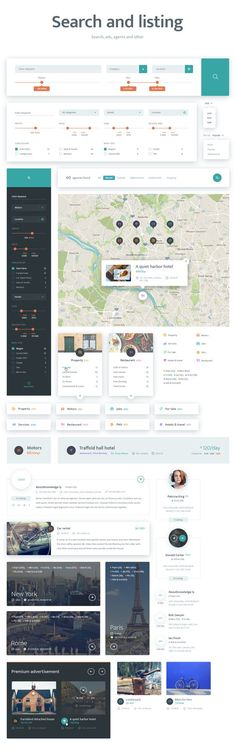 Places Directory is the perfect web based UI tool kit for advertisements and posts via maps. ZIP archive contains 4 UI files with 6 categories of elements, and 15 pages of content. We have all the necessary pages and 100 UI elements designed and ready for the work of such portal. Files are available in PSD and Sketch formats.: